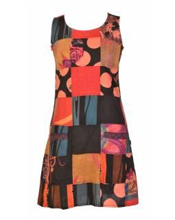 Krátké šaty bez rukávu, kapsy, oranžový patchwork, stonewash, zip na boku