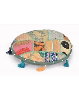 Meditační polštářek, kulatý, patchwork, 33x33x5cm