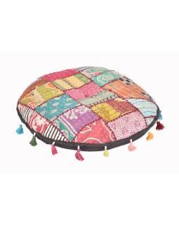 Meditační polštářek, kulatý, patchwork, 46x46x8cm