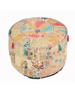 Taburet z Rajastanu, patchwork, kulatý, 55x55x32cm