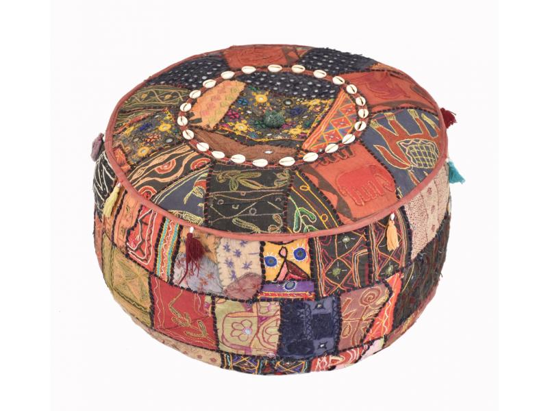 Taburet z Rajastanu, patchwork, kulatý, 52x52x26cm