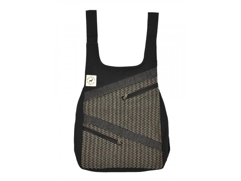 Originální batoh s pěti kapsami, černý s potiskem, ruční práce, 32x36cm