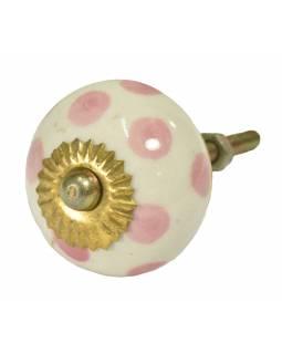 Malovaná porcelánová úchytka na šuplík, bílá s růžovými puntíky, průměr 3,7cm