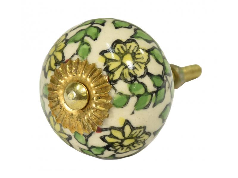 Malovaná porcelánová úchytka na šuplík, béžová s květinami a lístky, průměr 4cm