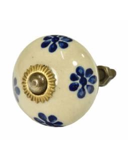 Malovaná porcelánová úchytka na šuplík, bílá, modré malované květiny, 3,7cm