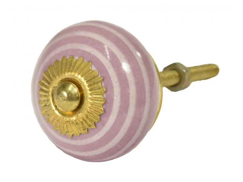 Malovaná porcelánová úchytka na šuplík, růžová se světlým proužkem, průměr 3,7cm
