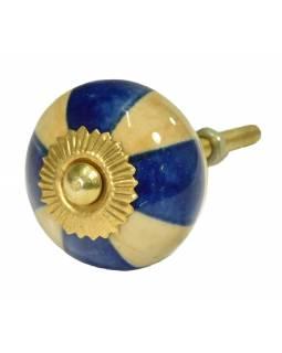 Malovaná porcelánová úchytka na šuplík, béžovo-modrá, průměr 3,7cm