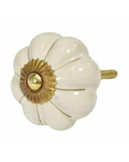 Malované porcelánové madlo na šuplík, krémově bílé, zlatý dekor, průměr 4,5cm