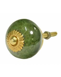 Malovaná porcelánová úchytka na šuplík, khaki zelená, zlatý dekor, průměr 3,8cm