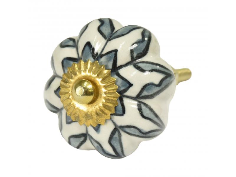 Malované porcelánové madlo na šuplík, průměr 4,5cm