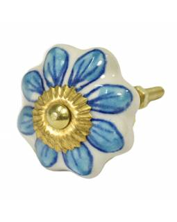 Malovaná porcelánová úchytka na šuplík, bílá, modrá květina, průměr 4,5cm