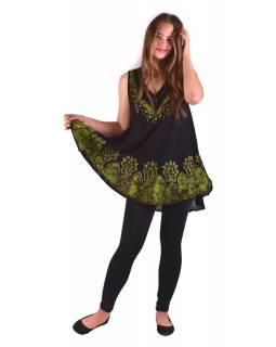 Letní halena/mini šaty bez rukávu, výšivka, černo-zelená