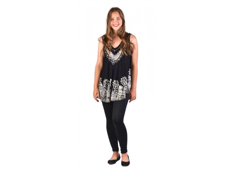 Letní halena/mini šaty bez rukávu, výšivka, černo-šedá