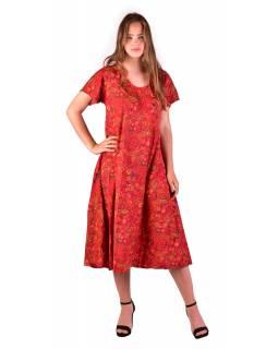 Dlouhé šaty s krátkým rukávem, červené s drobným paisley potiskem