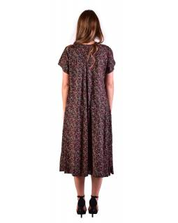 Dlouhé šaty s krátkým rukávem, černé s drobným potiskem červených květin