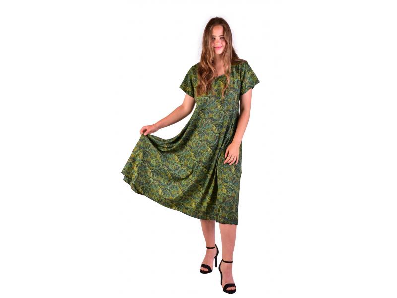 Dlouhé šaty s krátkým rukávem, zelené s drobným paisley potiskem