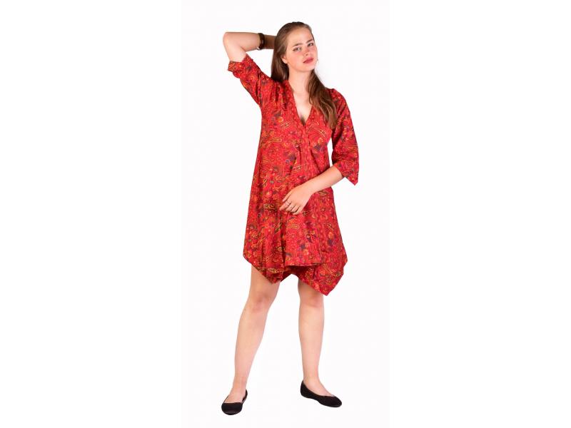 Krátké šaty s 3/4 rukávem, červené s drobným paisley potiskem