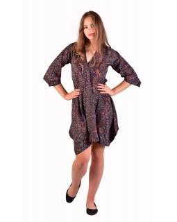 Krátké šaty s 3/4 rukávem, černé s drobným paisley potiskem