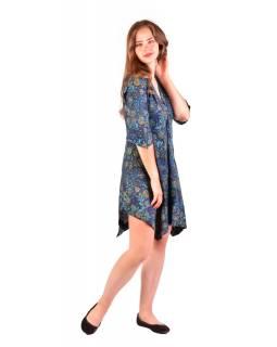 Krátké šaty s 3/4 rukávem, tmavě modré s drobným potiskem květin