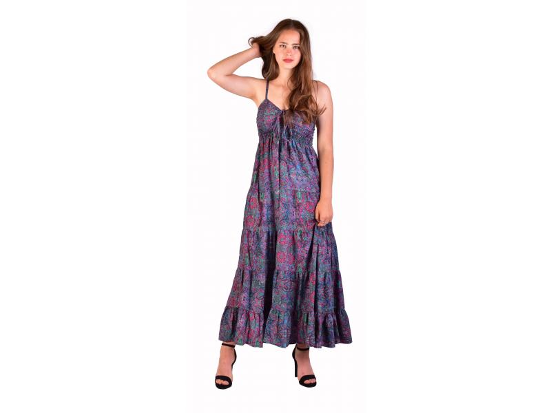 Dlouhé šaty, tenká ramínka, fialové s drobným fialovým paisley potiskem
