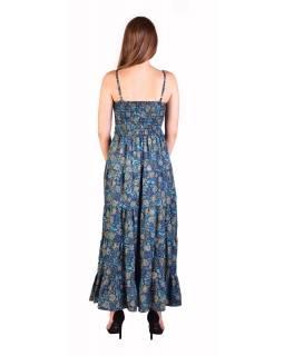 Dlouhé šaty, tenká ramínka, tmavě modré s drobným potiskem květin