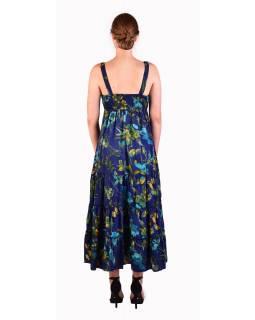 Dlouhé šaty na ramínka, tmavě modré s potiskem květin