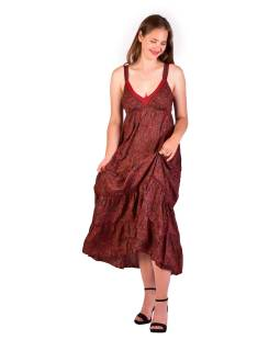 Dlouhé šaty na ramínka, červené s drobným paisley potiskem