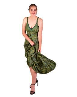 Dlouhé šaty na ramínka, zelené s drobným paisley potiskem
