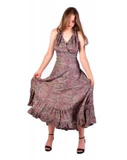 Dlouhé letní šaty bez rukávu, béžovo-šedivé s paisley potiskem