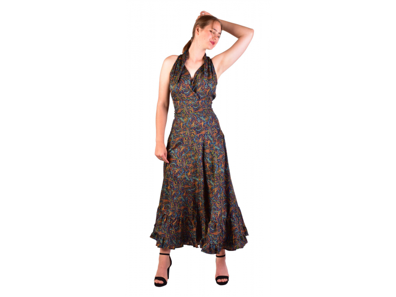 Dlouhé letní šaty bez rukávu, tmavě modré s drobným paisley potiskem