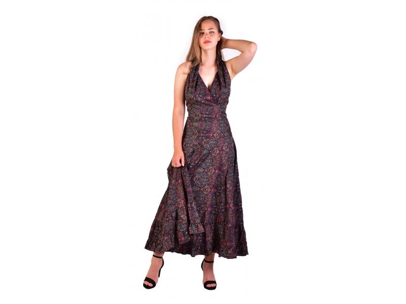 Dlouhé letní šaty bez rukávu, černé s drobným paisley potiskem