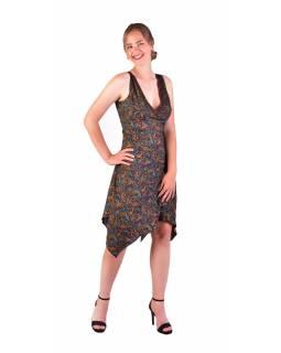 Krátké šaty na ramínka, tmavě modré, drobný barevný paisley potisk