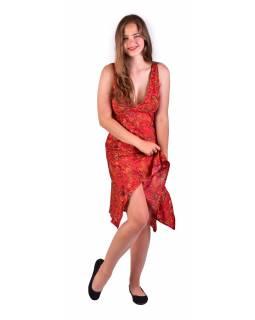Krátké šaty na ramínka, červené s drobným paisley potiskem