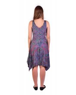 Krátké šaty na ramínka, fialovo-růžové s drobným paisley potiskem