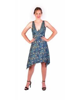 Krátké šaty na ramínka, tmavě modré s drobným potiskem květin