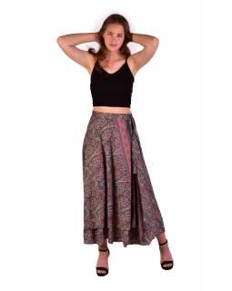 Dlouhá letní zavinovací sukně, béžovo-šedivá s paisley potiskem