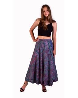 Dlouhá letní zavinovací sukně, fialovo-růžová s drobným paisley potiskem