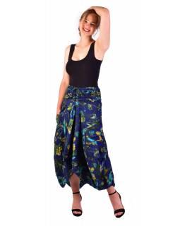 Dlouhá letní nařasená sukně, kapsy, tmavě modrá s potiskem květin