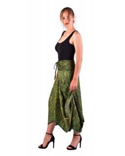 Dlouhá letní nařasená sukně, kapsy, zelená s drobným paisley potiskem