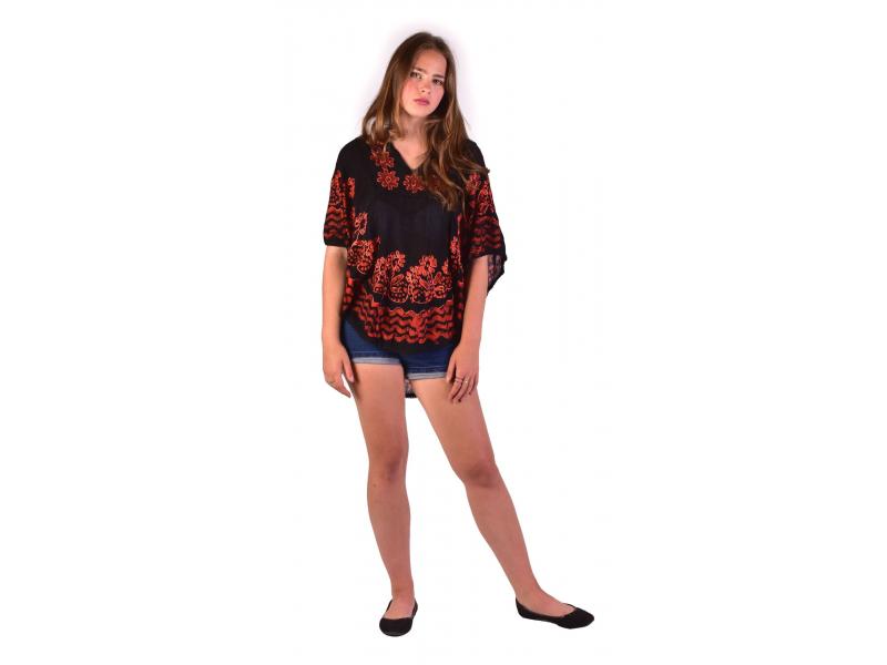 Letní volná halenka s krátkým rukávem, černá, oranžové květiny