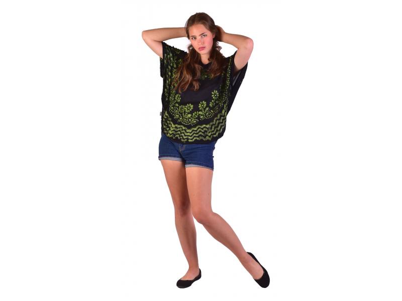 Letní volná halenka s krátkým rukávem, černá, zelené květiny