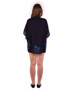 Letní volná halenka s krátkým rukávem, černá, modré květiny