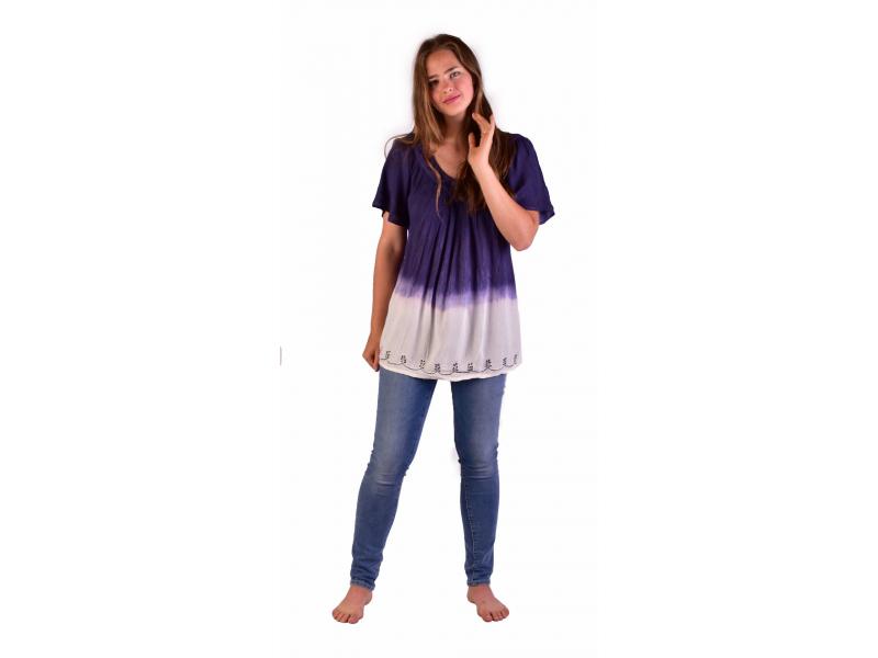 Letní volná halenka s krátkým rukávem, bílo-fialová, výšivka