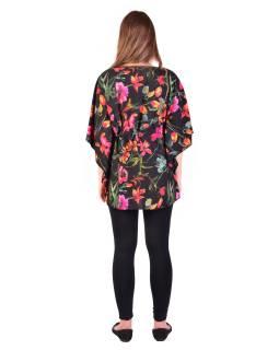 Halenka-tunika, černá, potisk růžových květin, šňůrka na stažení