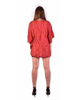 Halenka-tunika, červená s drobným paisley potiskem, šňůrka na stažení