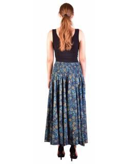 Pohodlné volné kalhoty, široké nohavice, modro-tyrkysové, paisley potisk