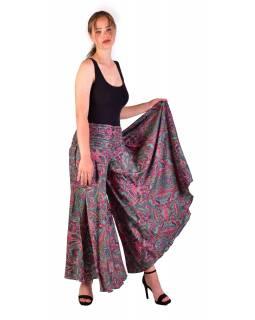 Pohodlné volné kalhoty, široké nohavice, růžovo-smaragdové s paisley potiskem