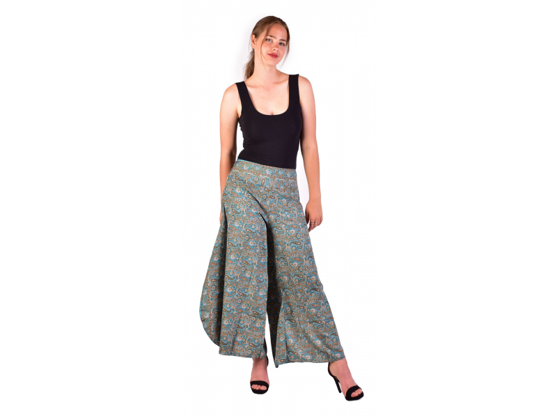 Pohodlné volné kalhoty, široké nohavice, tyrkysové s paisley potiskem