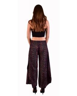 Pohodlné volné kalhoty, široké nohavice, černé s barevným paisley potiskem