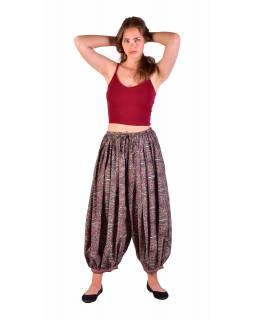 Balónové pohodlné volné kalhoty, béžovo-šedivé s paisley potiskem
